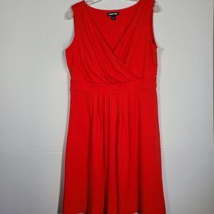 Lands' End dress faux wrap v neck pima cotton L